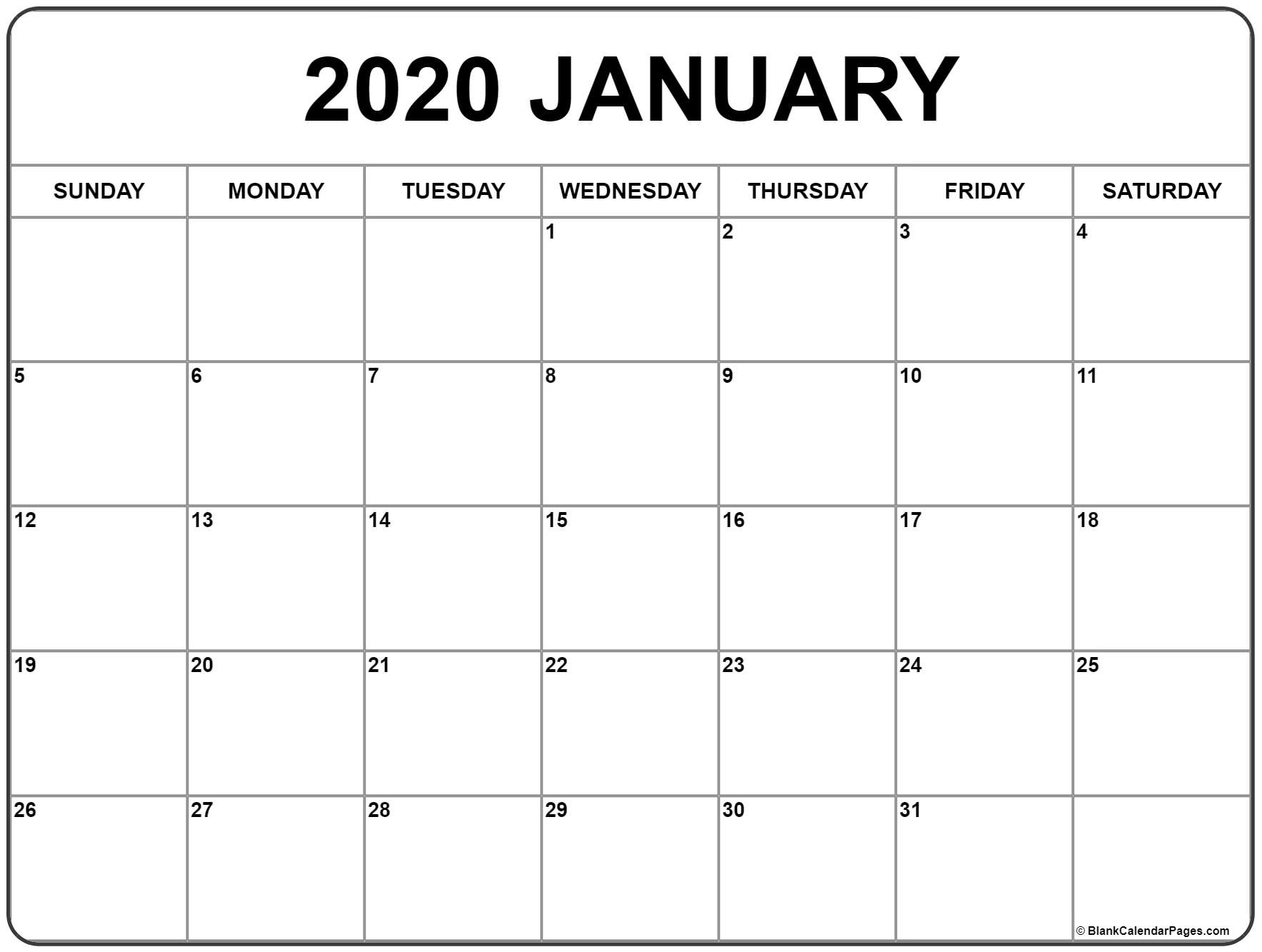 Blank Calendar Pages December 2021 And January 2020