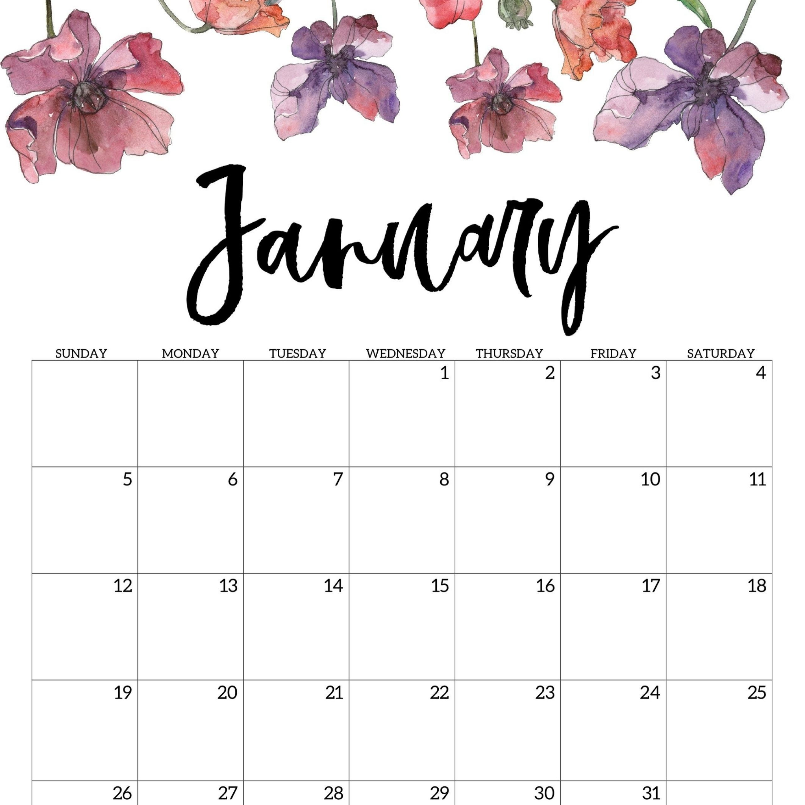 January February 2020 Printable Calendar Pinterest