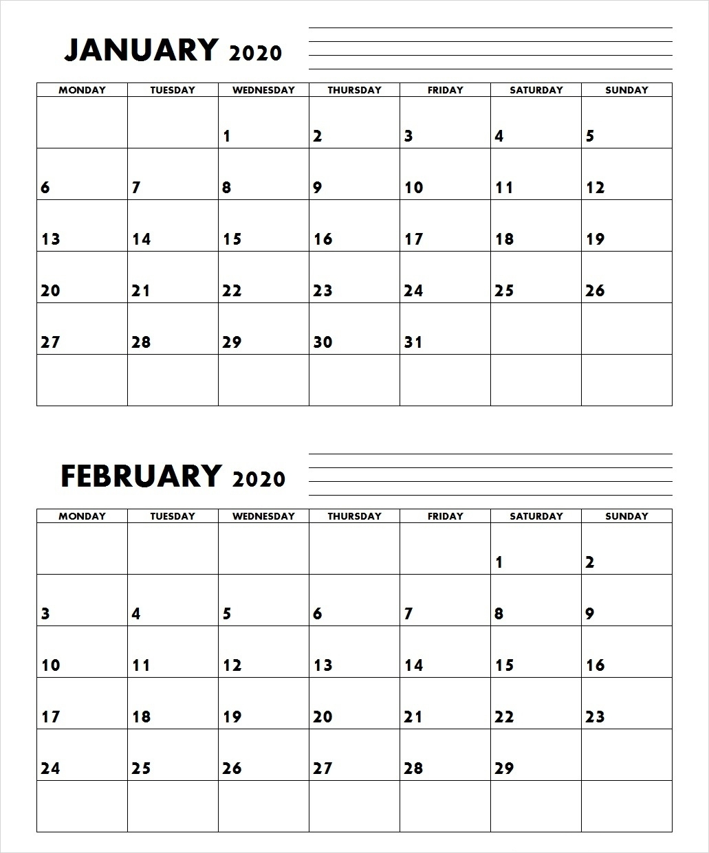 January And February 2020 Calendar Printable (2 Months