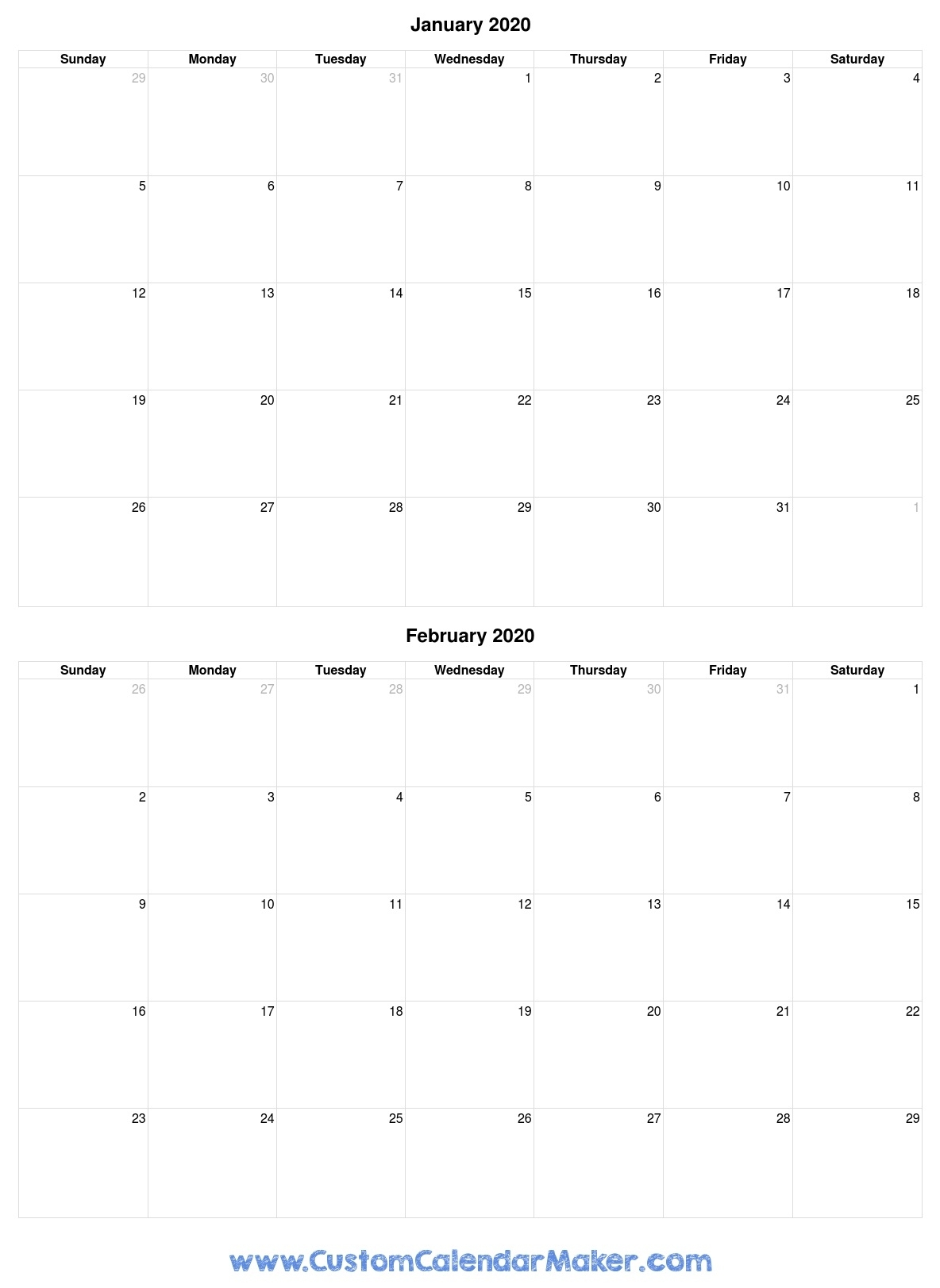 Printable Calendar January To February 2020