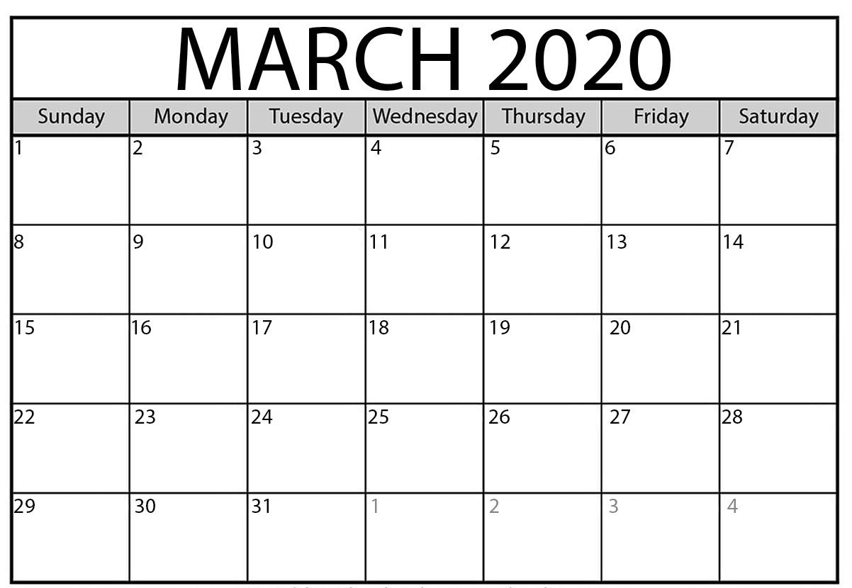 March To May Calendar 2020