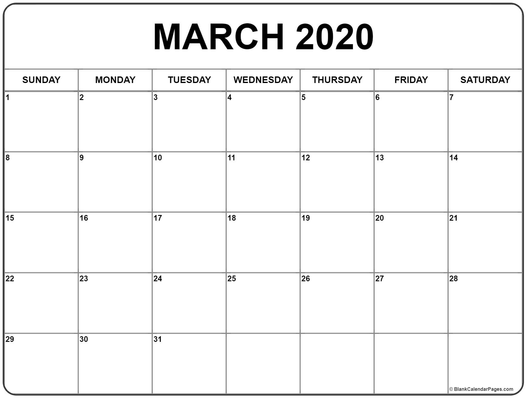 Blank Calendar Pages February And March 2020