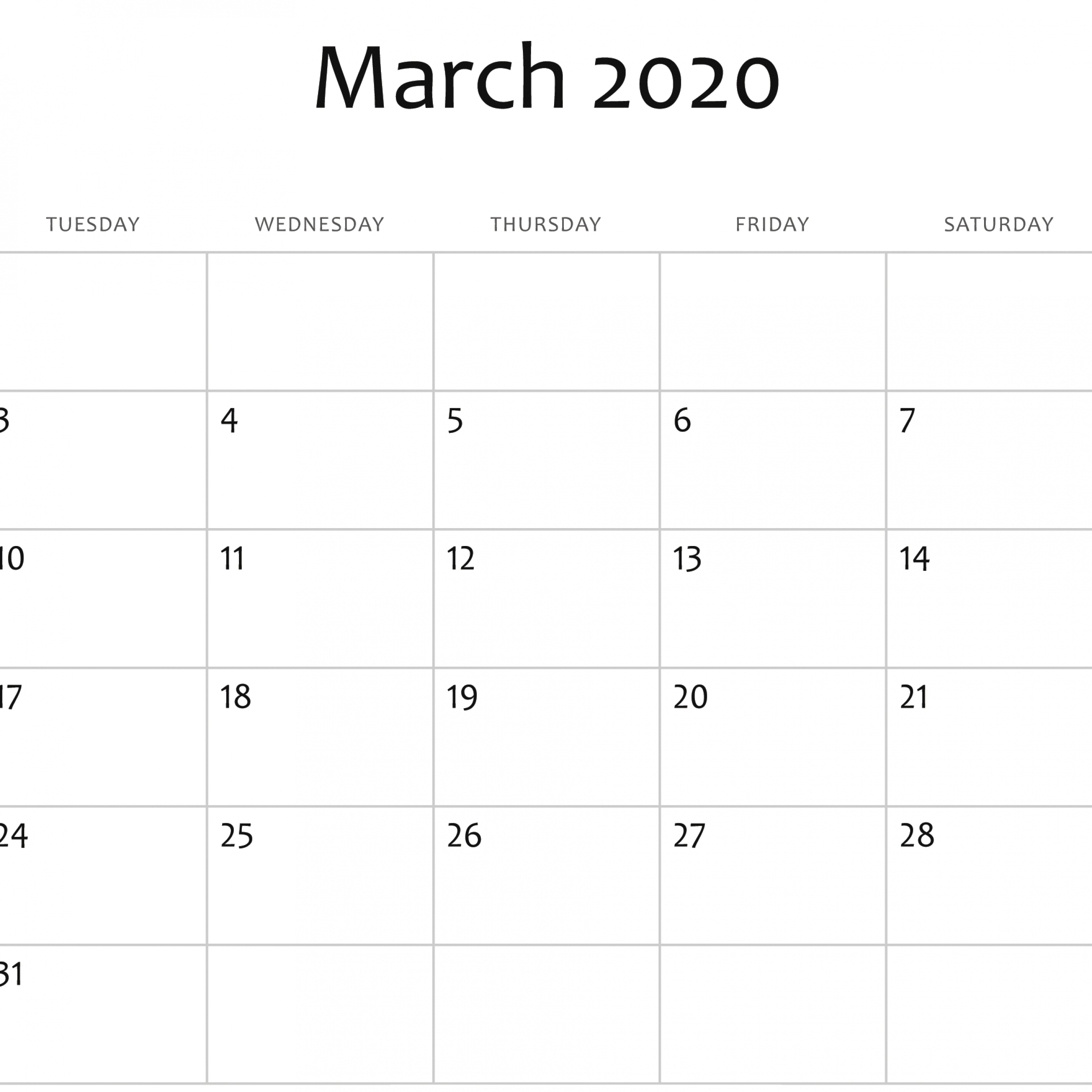 February And March 2020 Calendar Editable