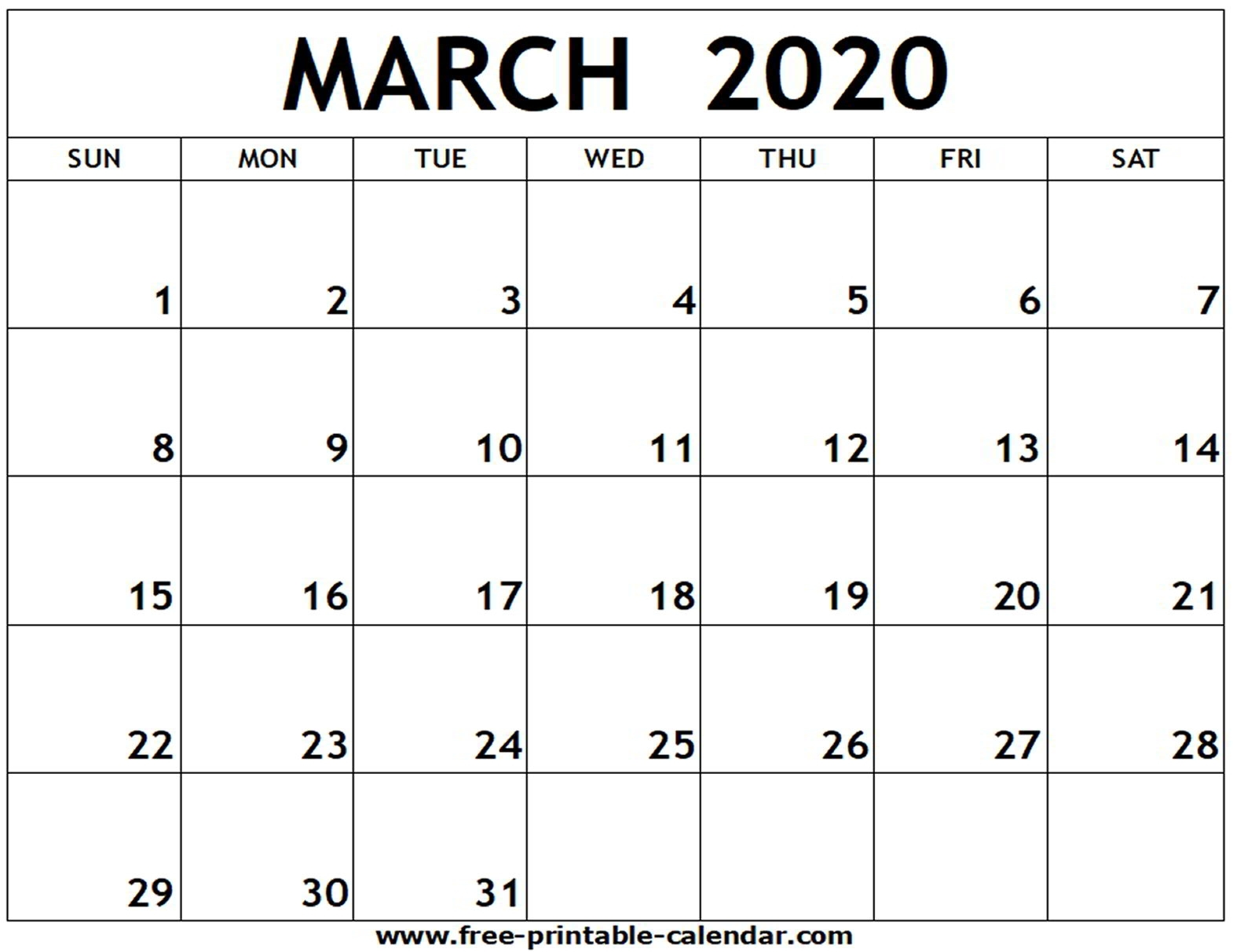 Free Printable Calendar January February March 2020