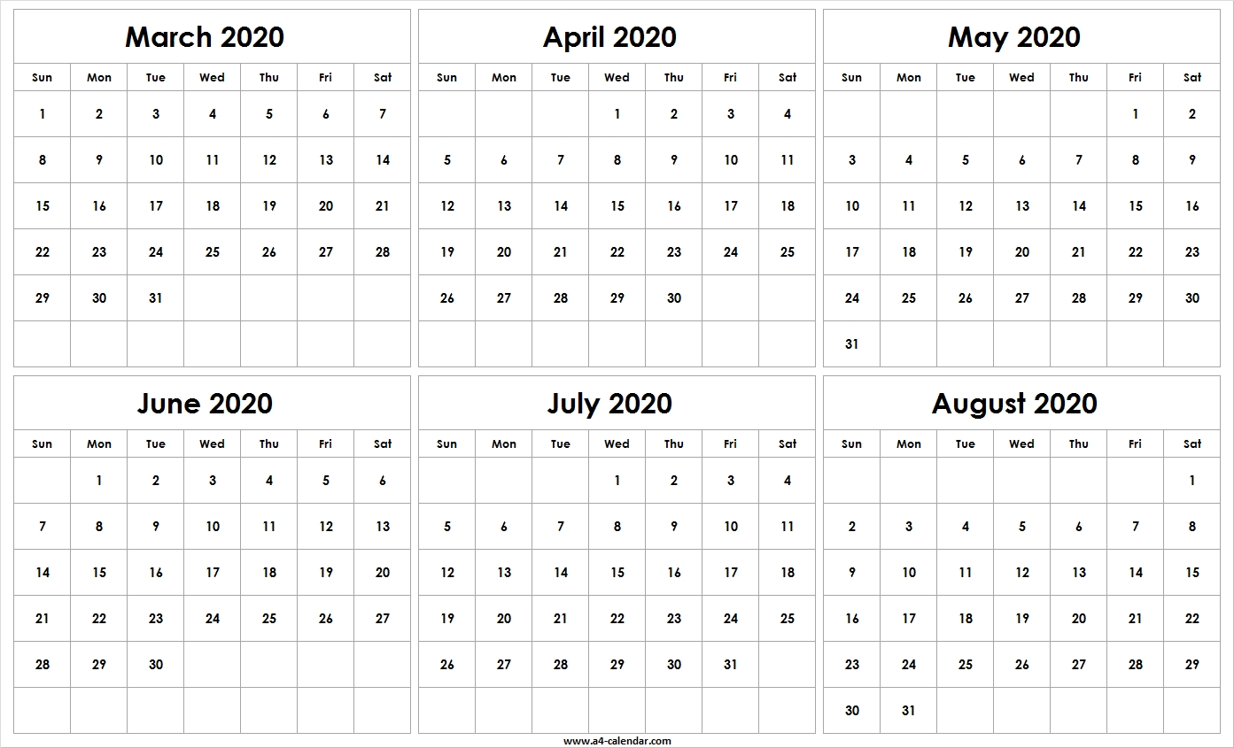 March To August 2020 Six Month Calendar   Free Template