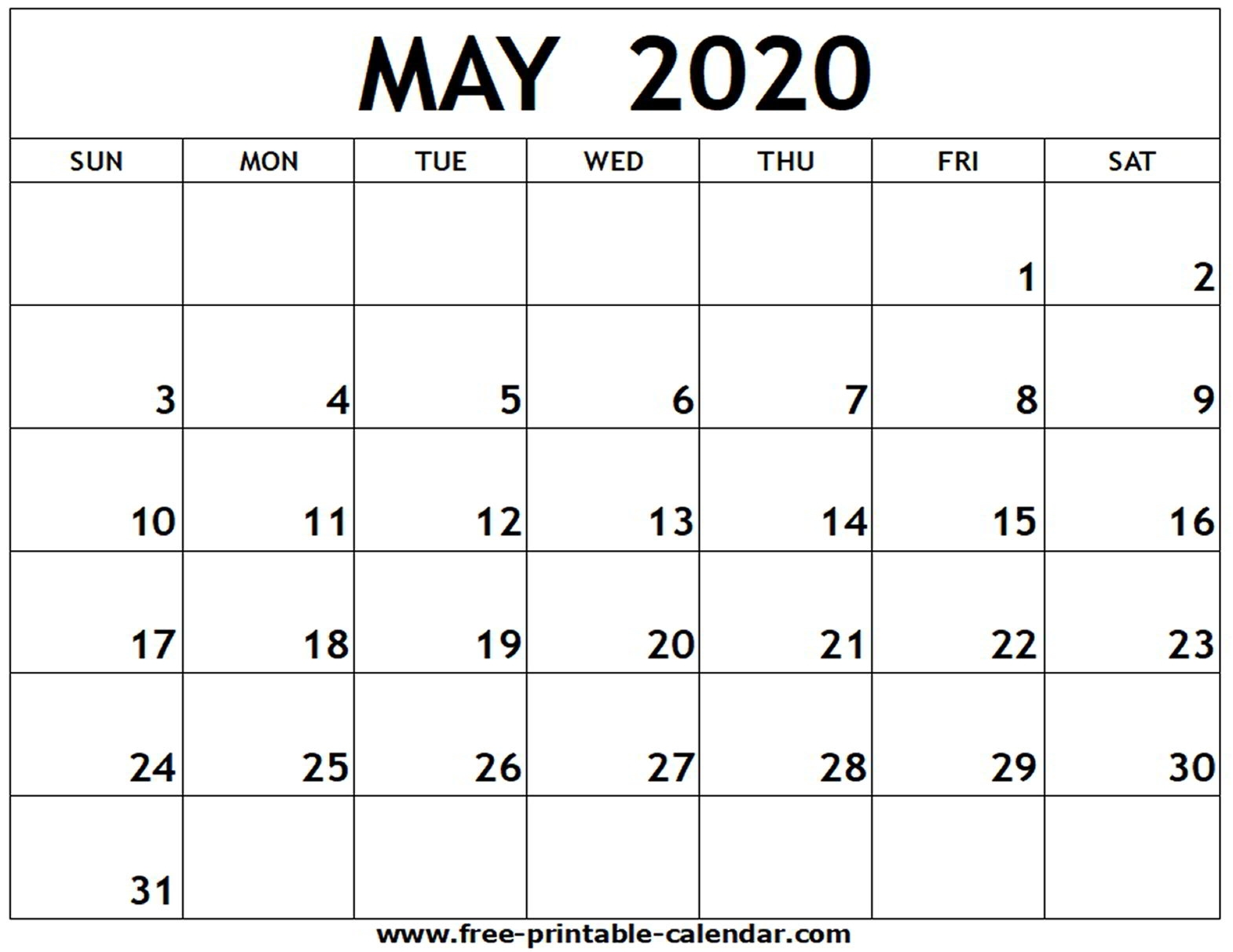 March To May 2020 Calendar Printable