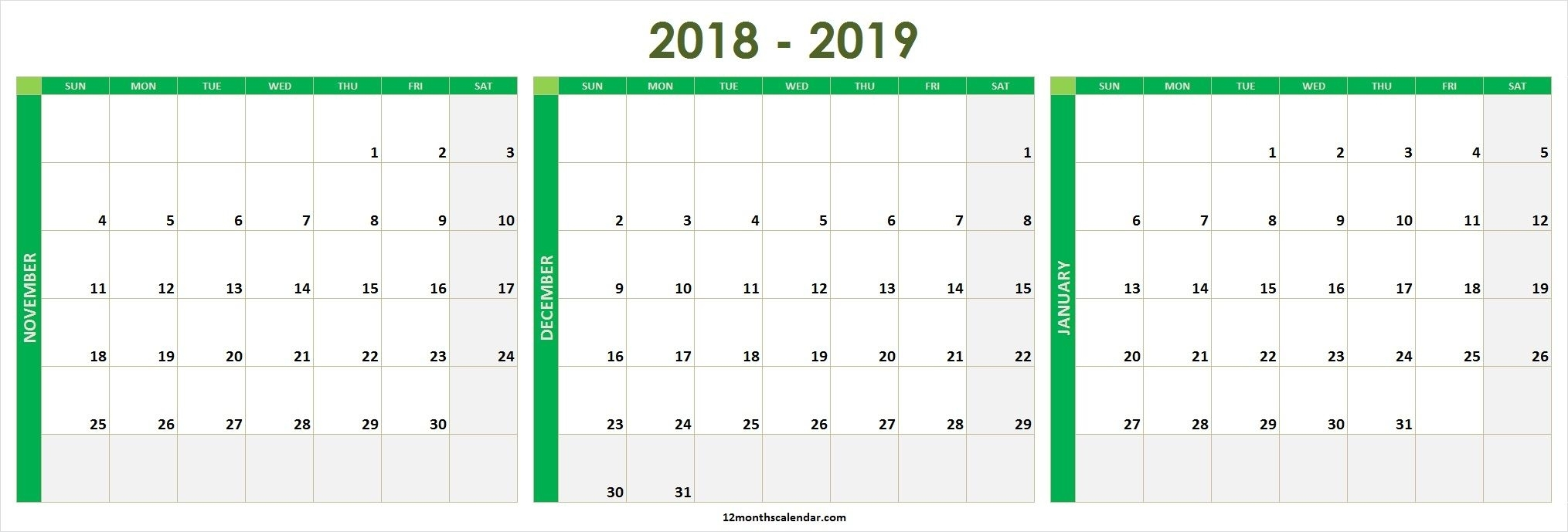 Two Month December 2021 January 2020 Calendar