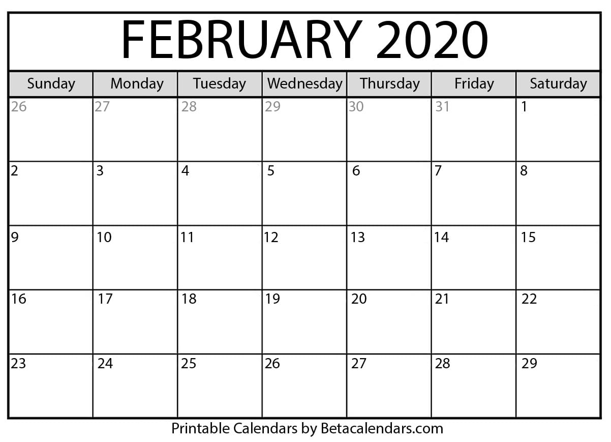 Calendar 2020 February To May Blank