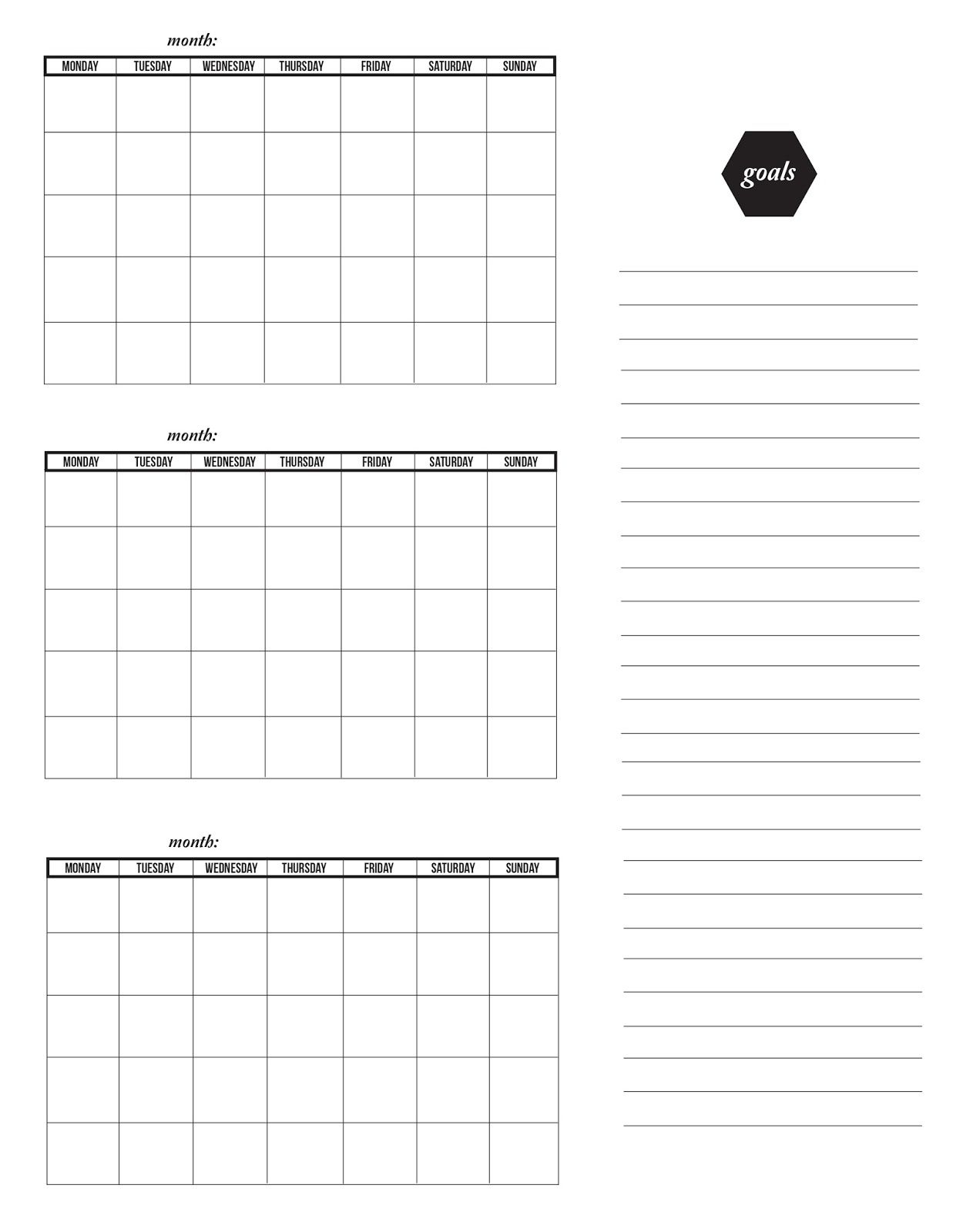 Three Month Calendar Template | Printable Calendar Template