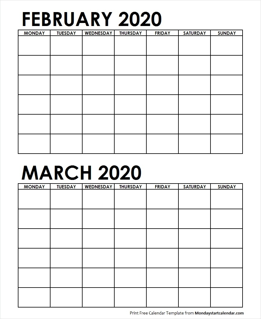 Two Month February March 2020 Calendar Blank Template