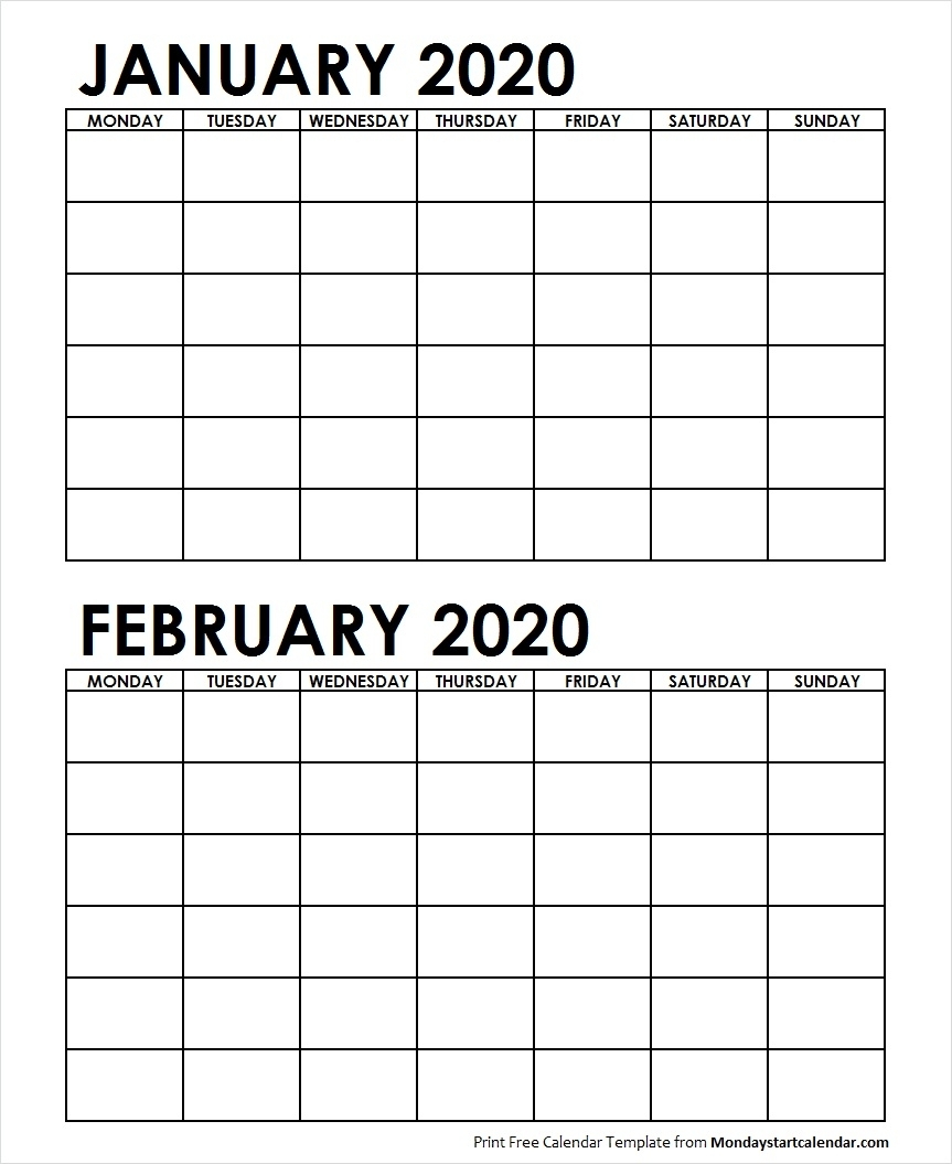 Two Month Calendar January February 2020