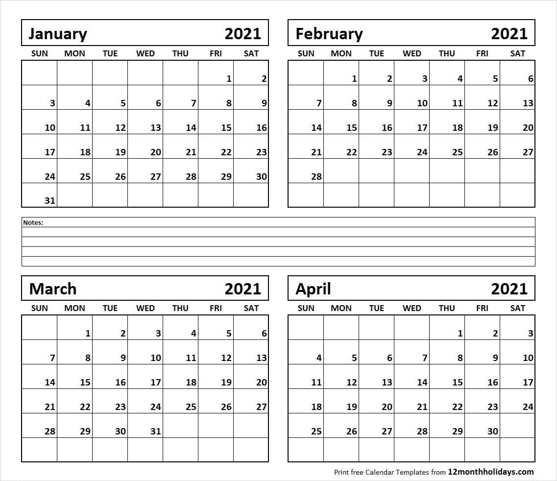 January February March April Calendar 2021