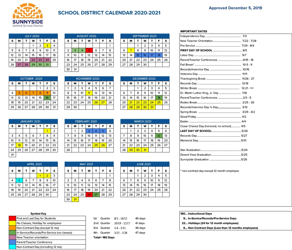 School District 8 2020 Calendar