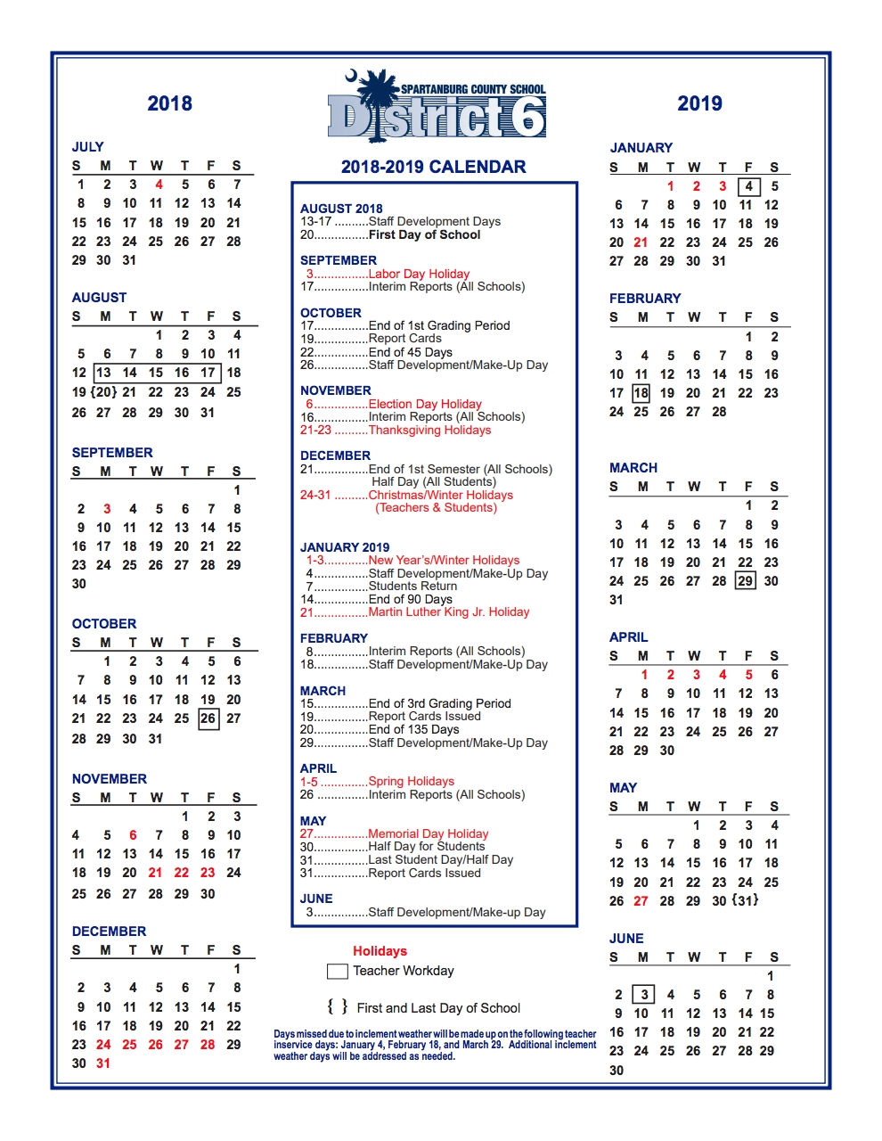 Spartanburg 6 School Calendar