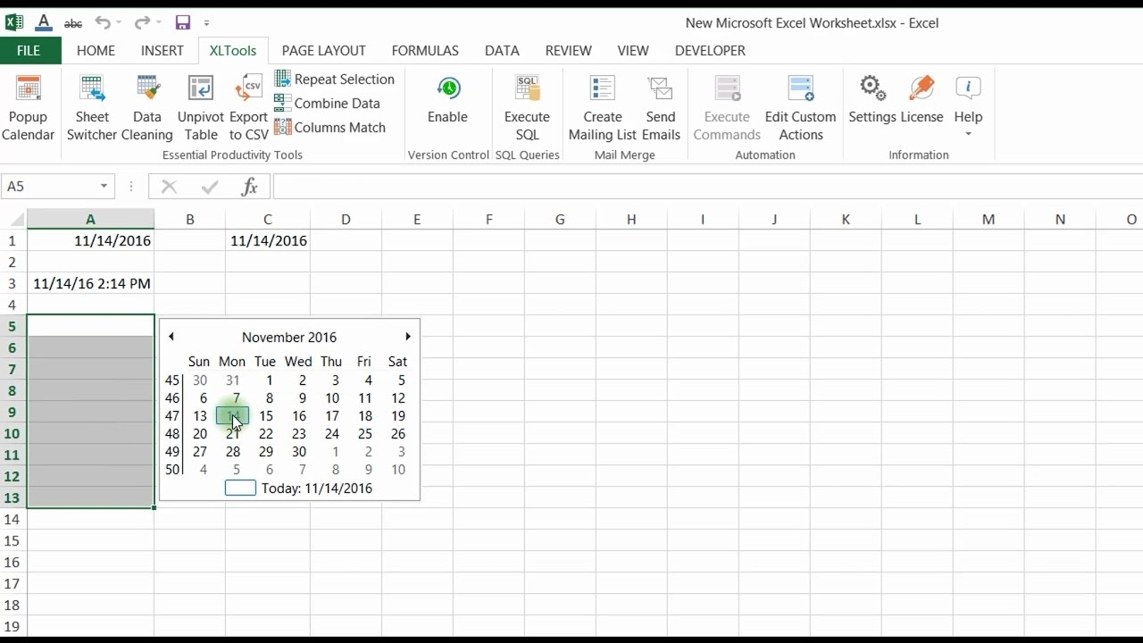 Add Calendar Icon To Excel Cell