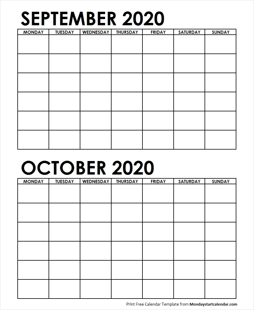 Two Month Calendar September October 2020