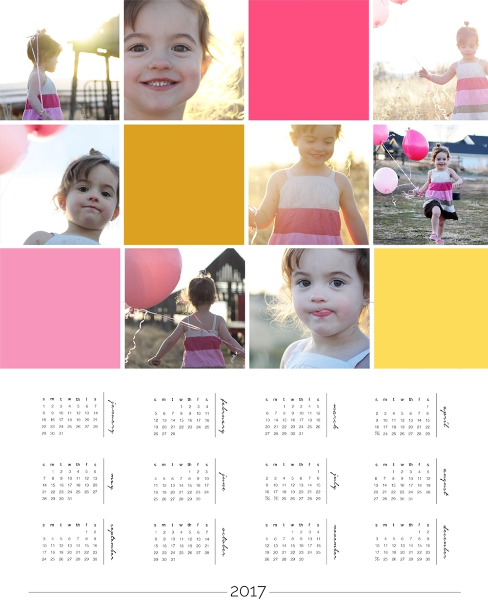 Personalized Photo Calendar Template