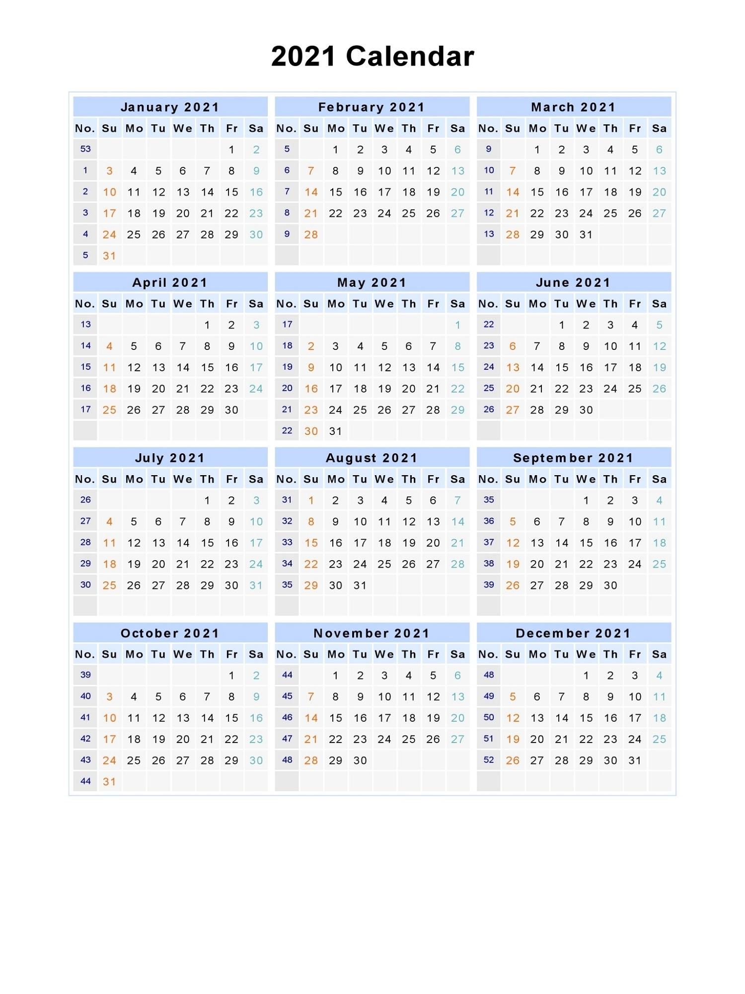 Microsoft Office Word 2021 Monthly Calendar Template