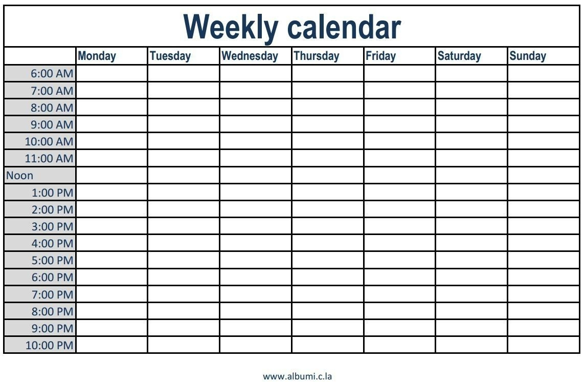 Blank Calendar With Time Slots