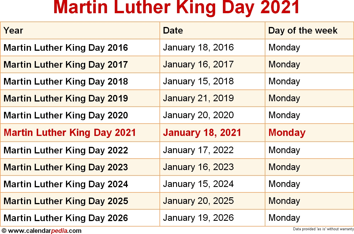 When Is Martin Luther King Day In 2021 2