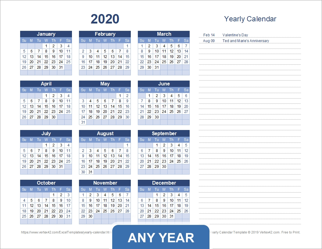 Yearly Calendar Templates