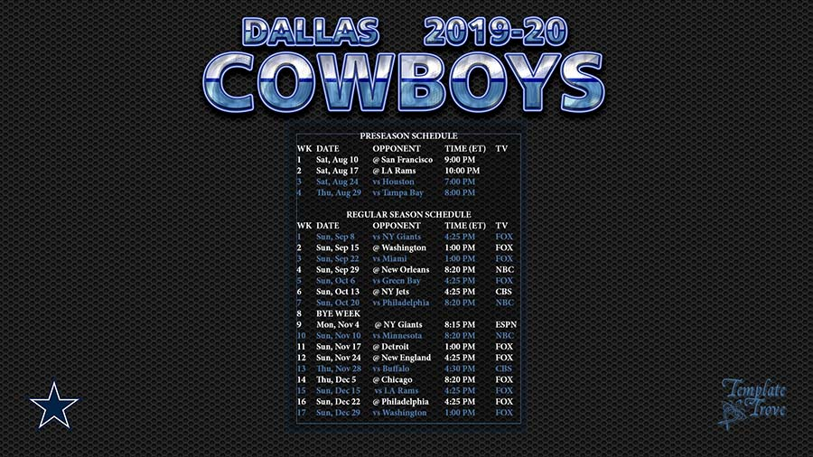 Dallas Cowboys Schedule 2020 2020 Printable