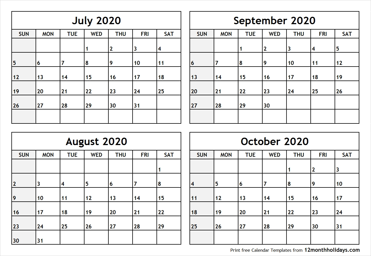 Calendar-July-To-October-2020-Printable – All 12 Month