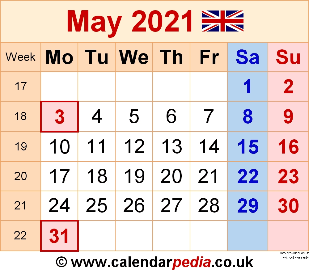 Calendar May 2021 (Uk) With Excel, Word And Pdf Templates