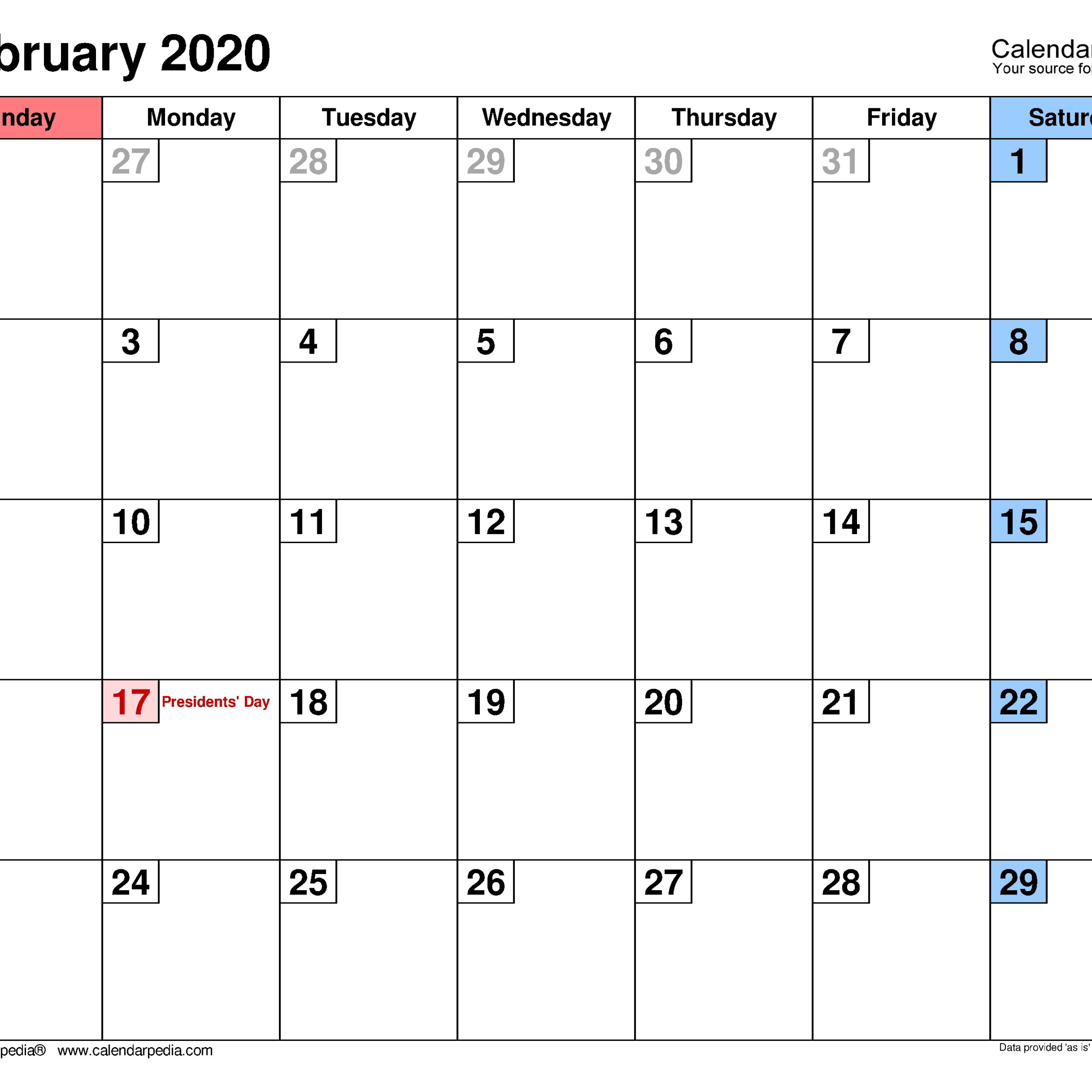 February 2020 – Calendar Templates For Word, Excel And Pdf