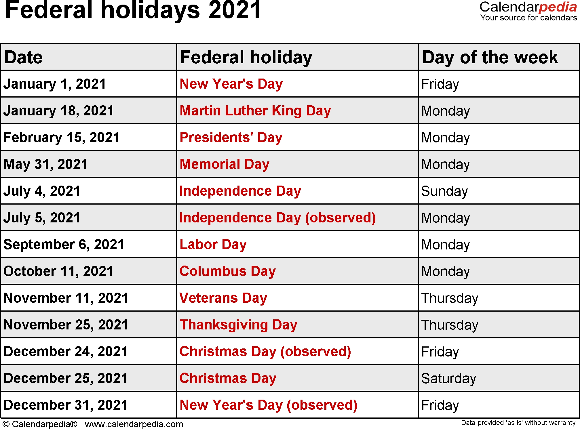 Holidays Public Holidays 2021 National Holidays