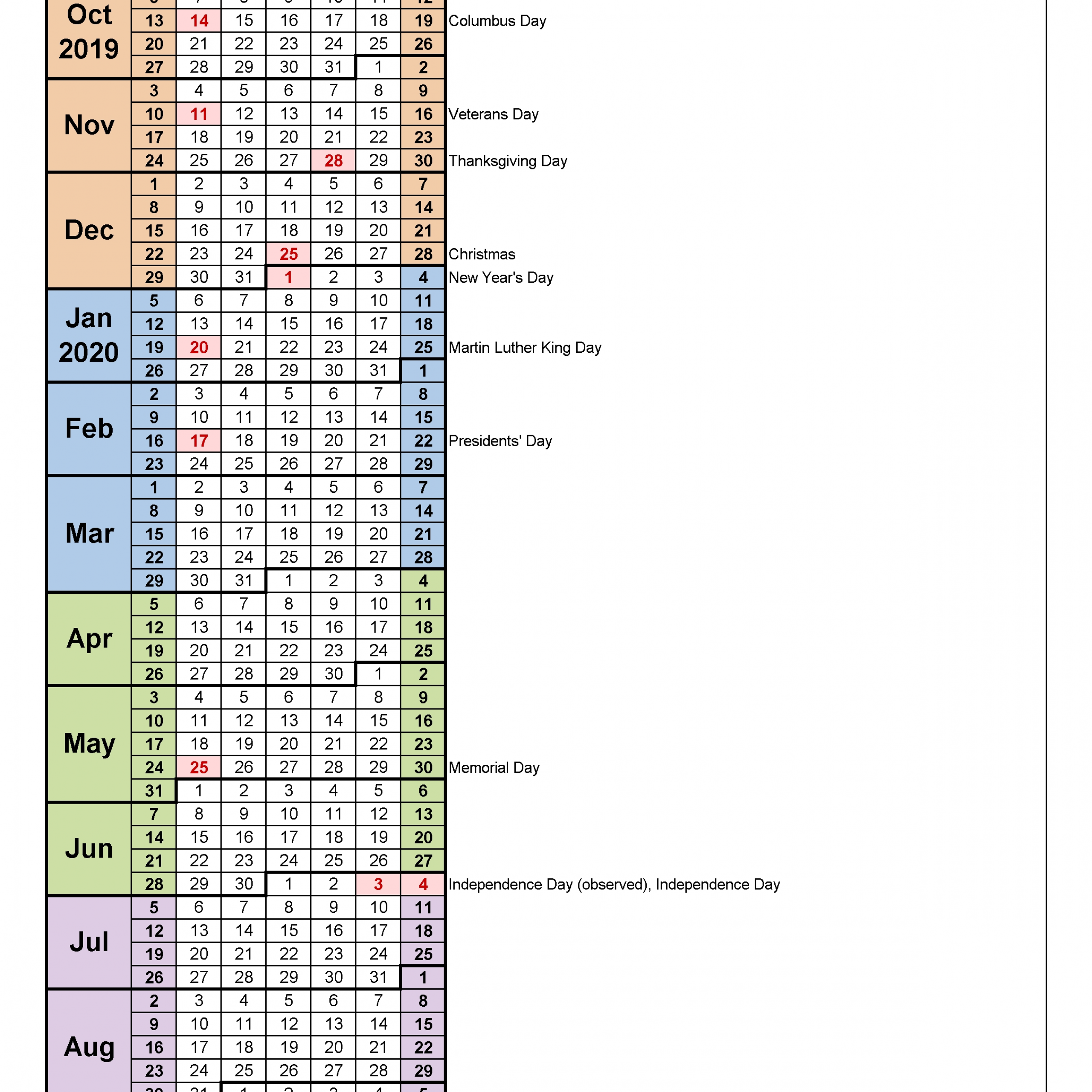Fiscal Calendars 2020 – Free Printable Pdf Templates