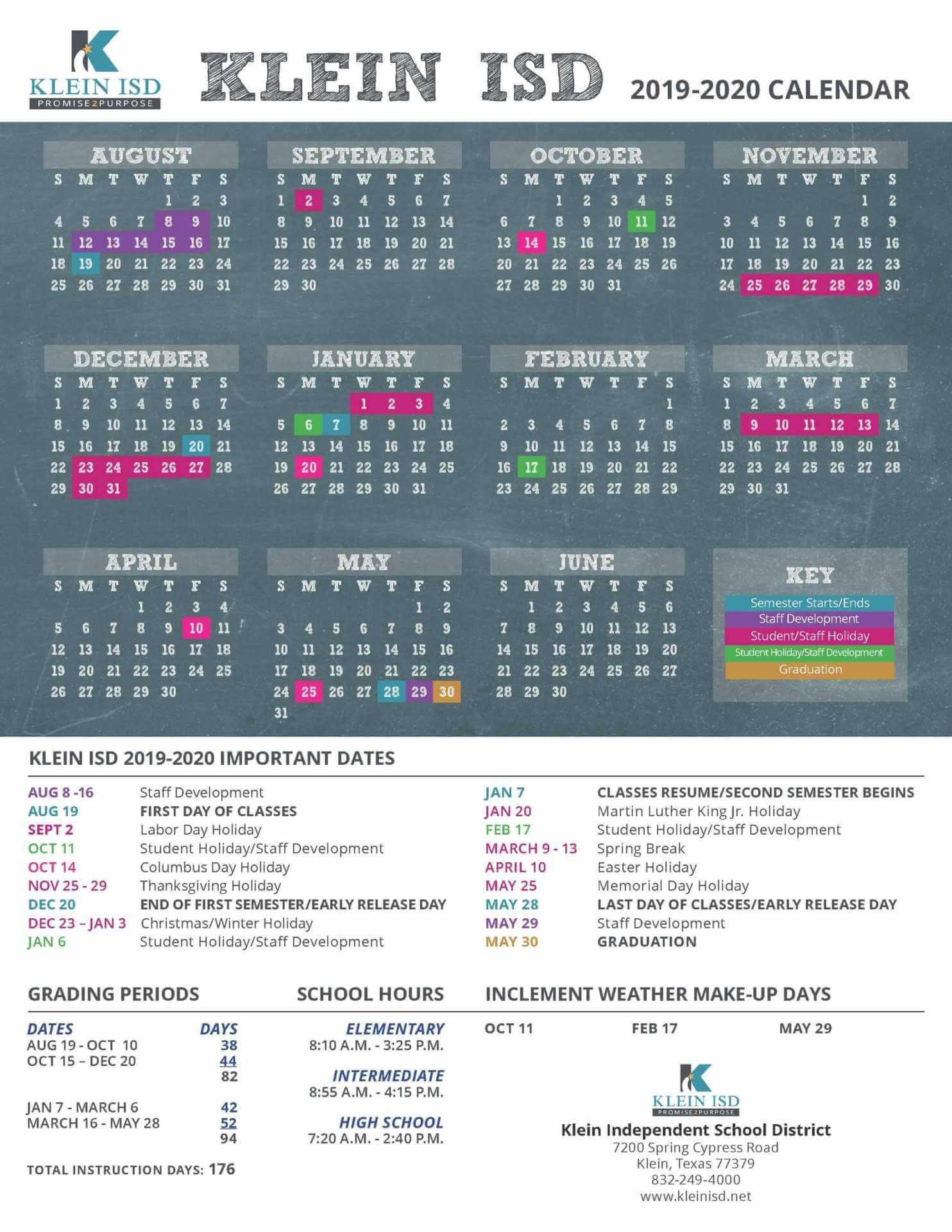 Important Current School Year Calendar Dates To Remember