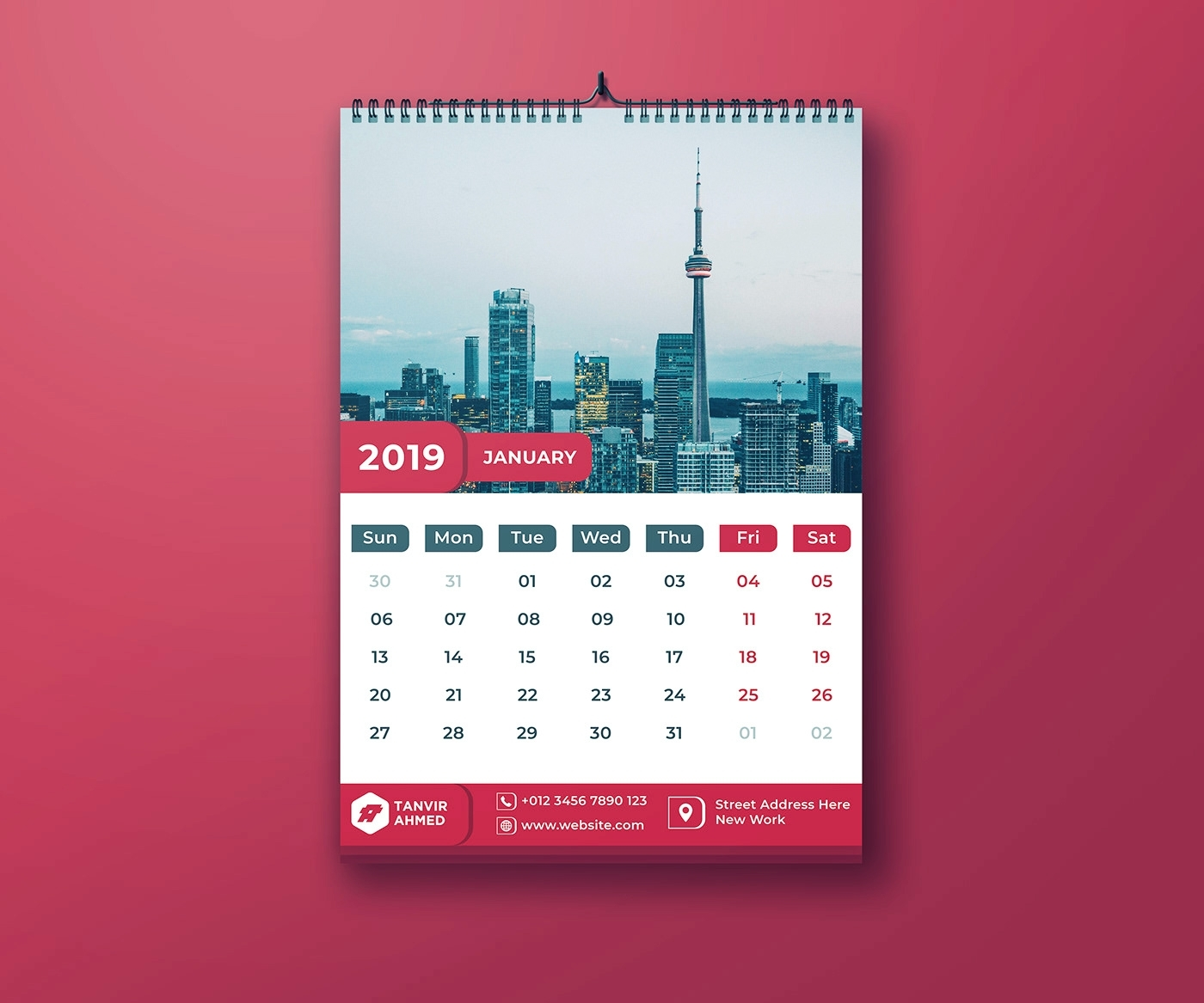Wall Calendar Template Photoshop