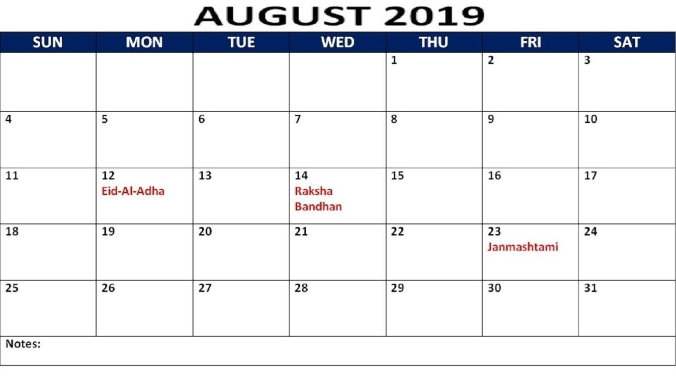 Holiday Calendar For August