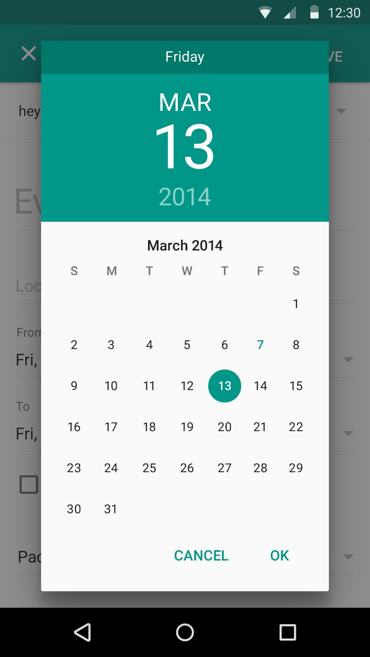 Change Calendar Color Android