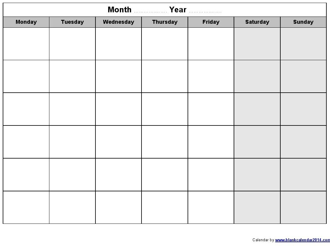 Monday Through Sunday Weekly Calendar Template