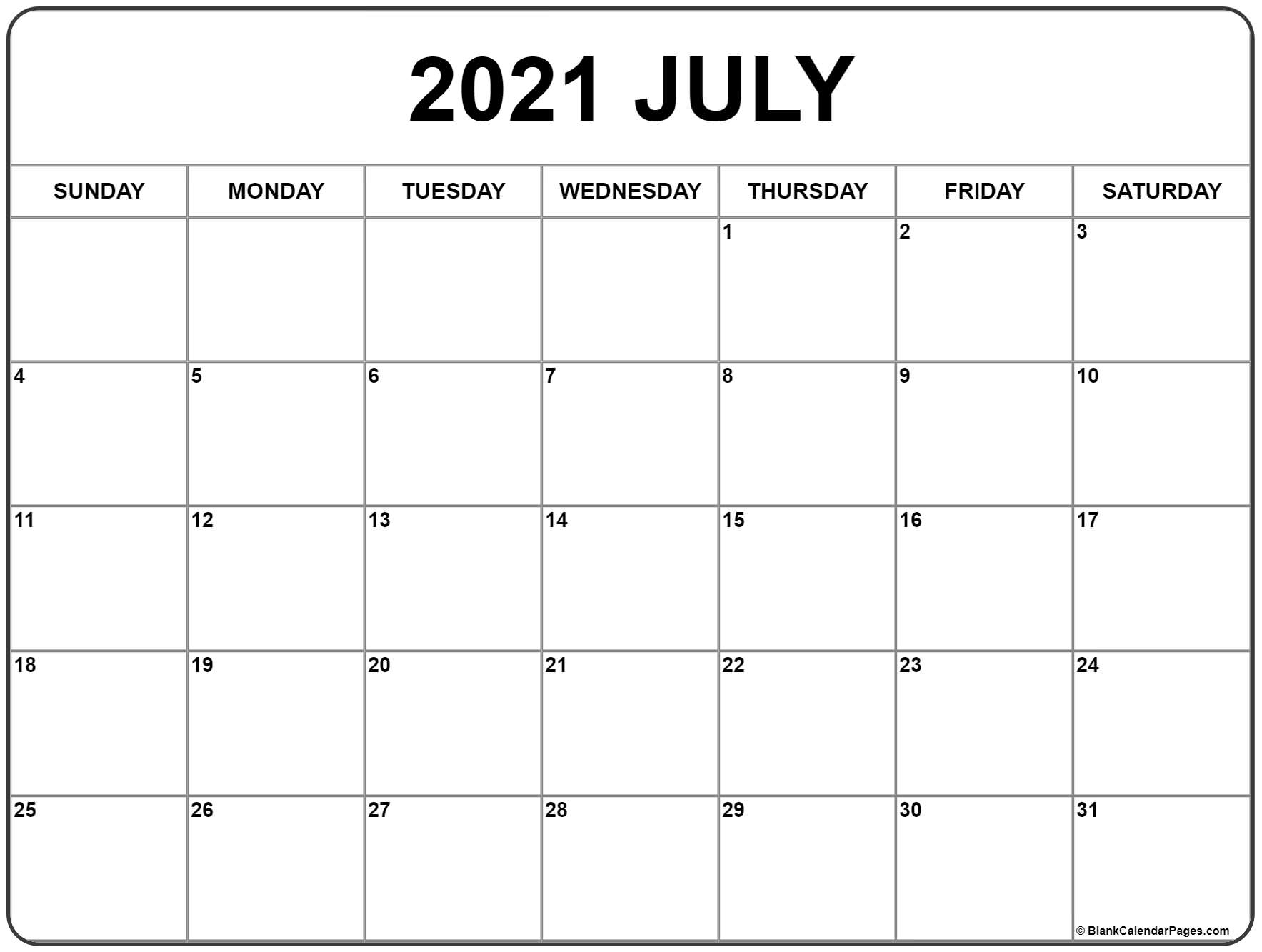 Free Monthly Calendar Template 2021