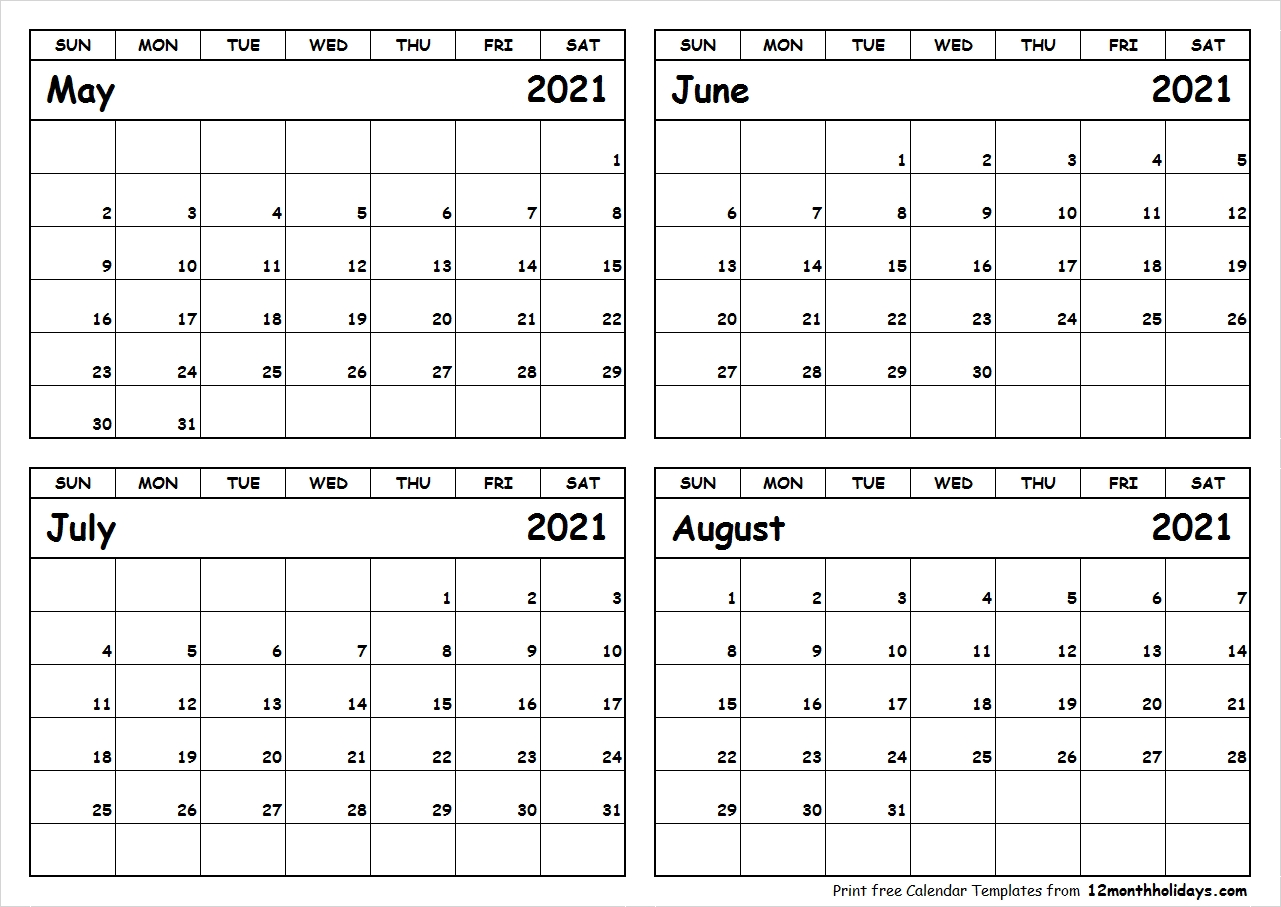 July And August 2021 Calendar