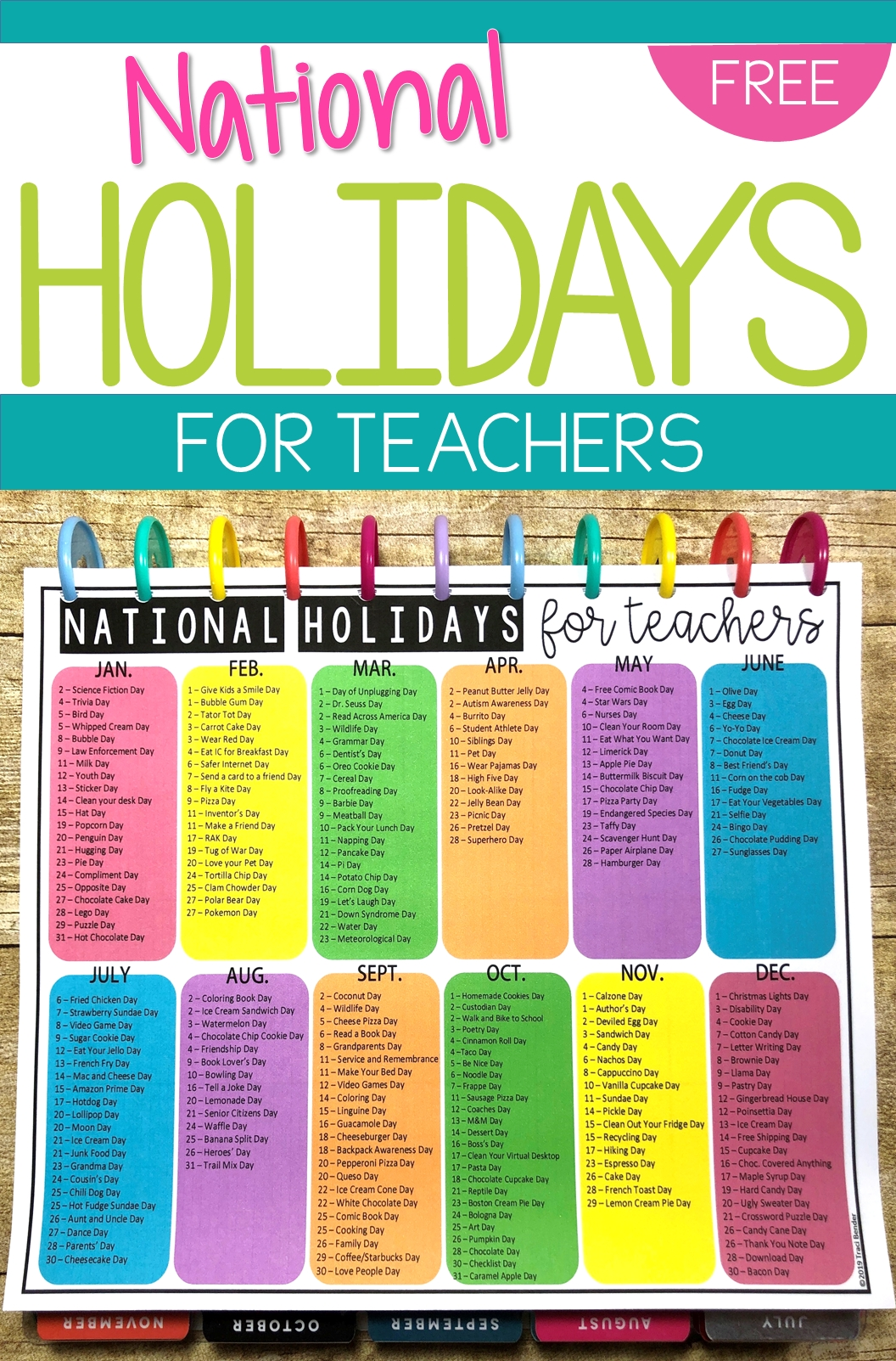 National Holidays Calendar For Teachers (With Images