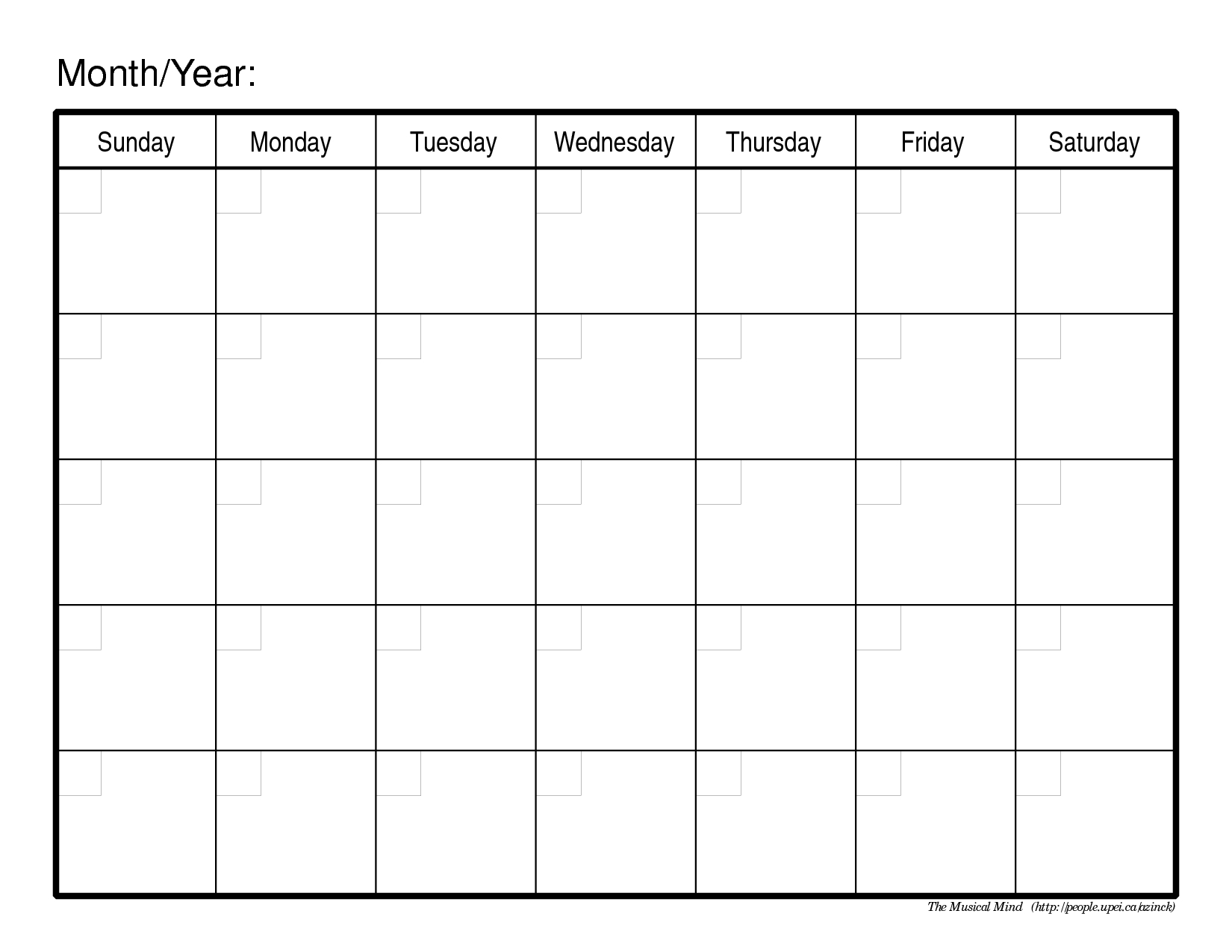 A Blank Monthly Calendar To Print