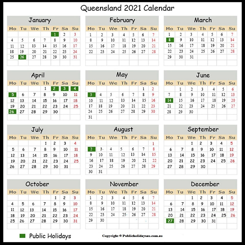 Yearly Calendar 2021 With Qld Holidays