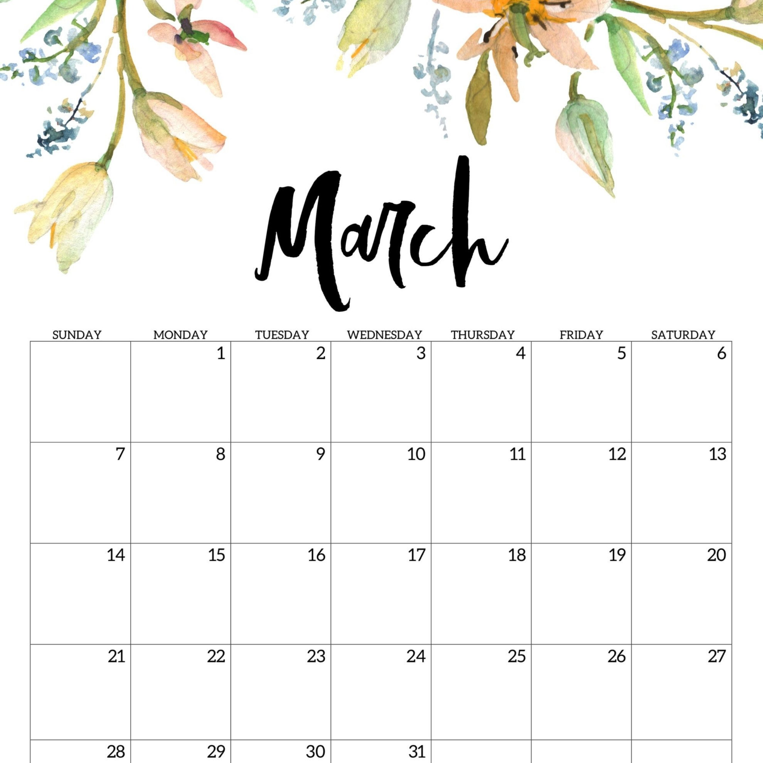 2021 Cute Printable Monthly Calendar