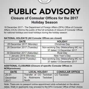 Dfa Announces Holiday Schedule Of Offices | Abs-Cbn News