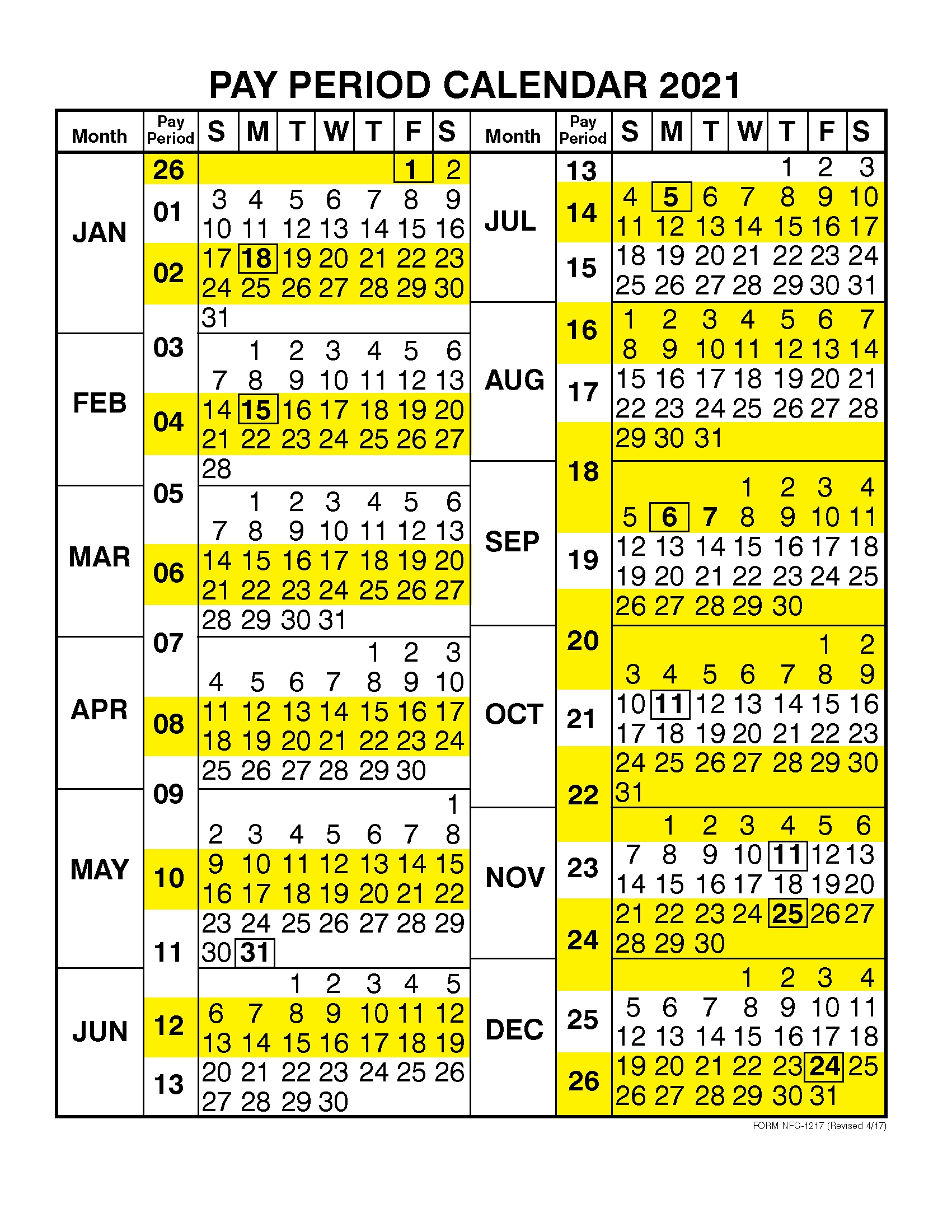 2021 Federal Pay Period Calendar Opm