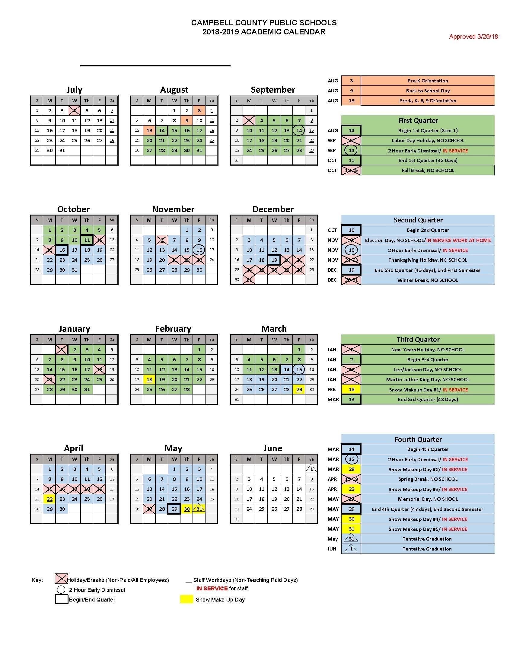 School Calendar District 34