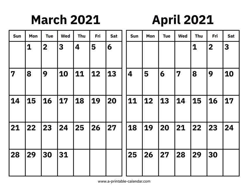 Blank Printable Calendar 2021 March April